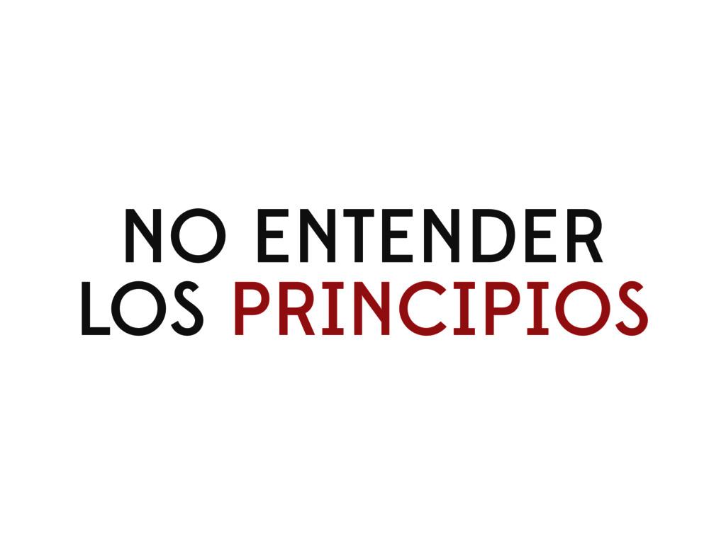 NO ENTENDER LOS PRINCIPIOS