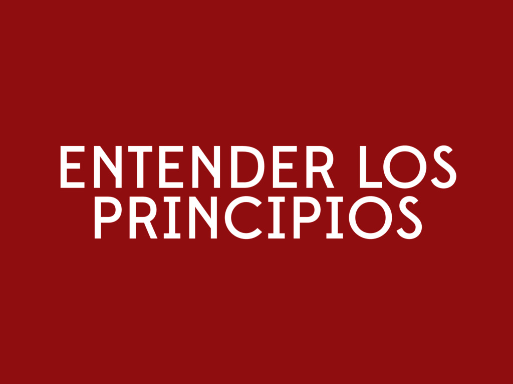ENTENDER LOS PRINCIPIOS
