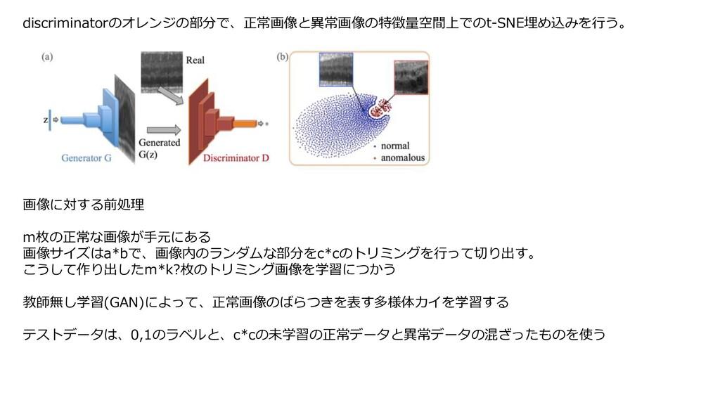 discriminatorのオレンジの部分で、正常画像と異常画像の特徴量空間上でのt-SNE埋...