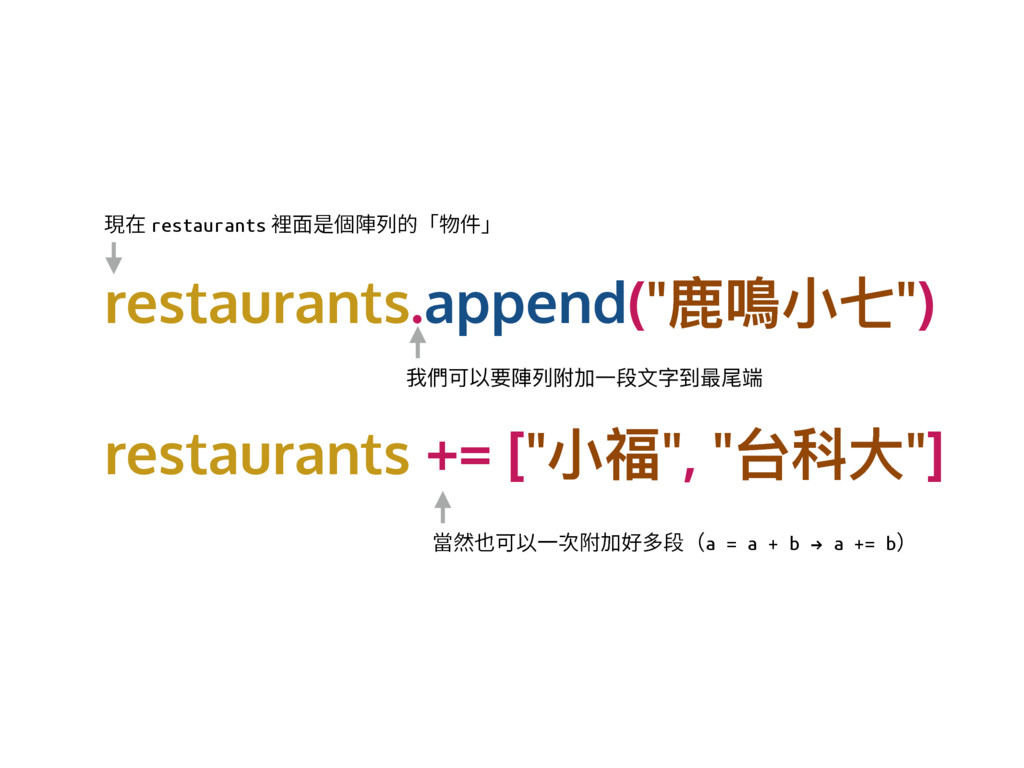 "restaurants.append(""議澕ੜ犊"") restaurants += [""ੜᐰ""..."