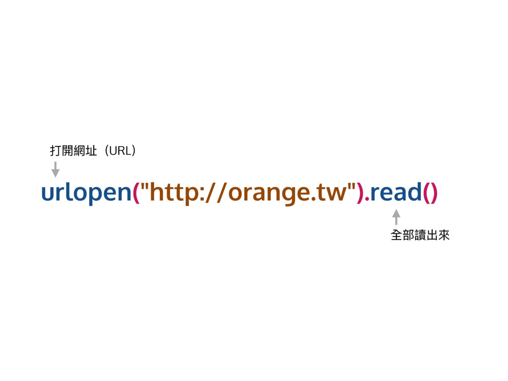 "urlopen(""http://orange.tw"").read() ಑樄翕࣎ҁURL҂ 獊蟂..."