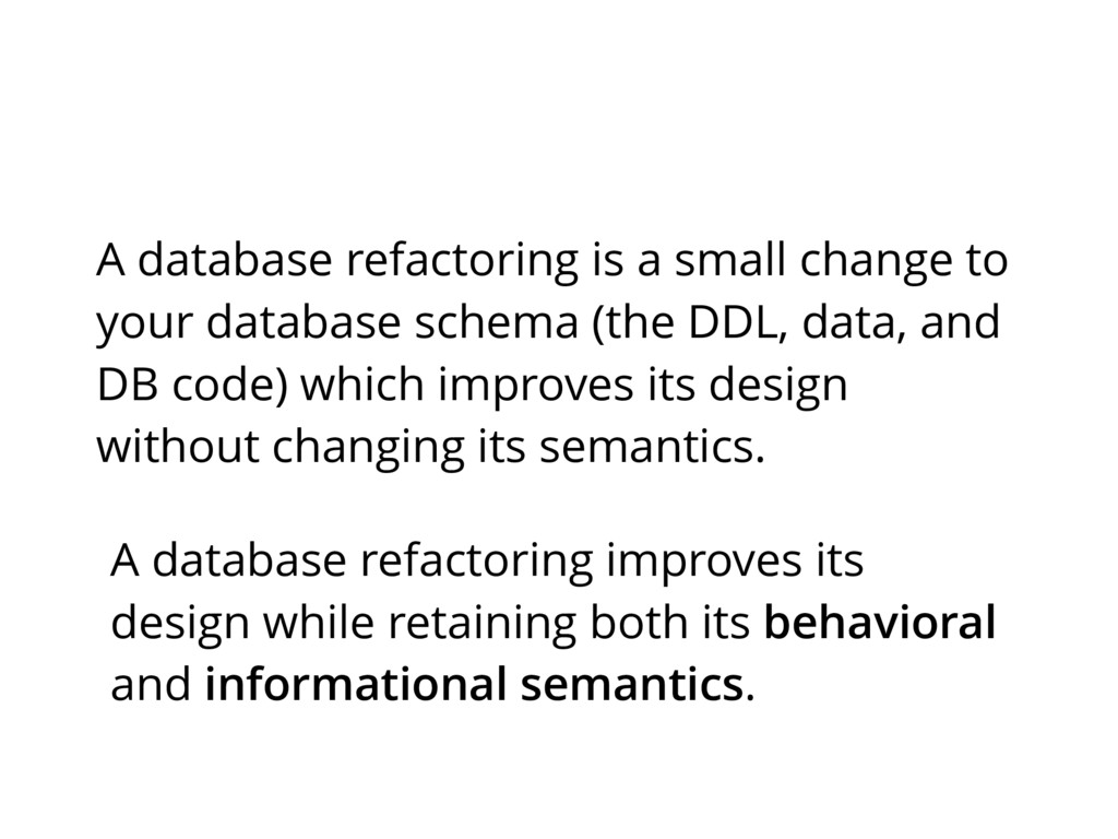 A database refactoring improves its design whil...
