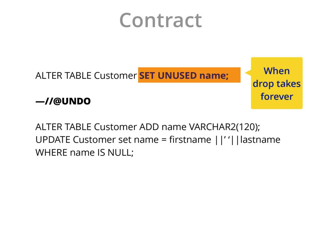 Contract ALTER TABLE Customer DROP COLUMN name;...