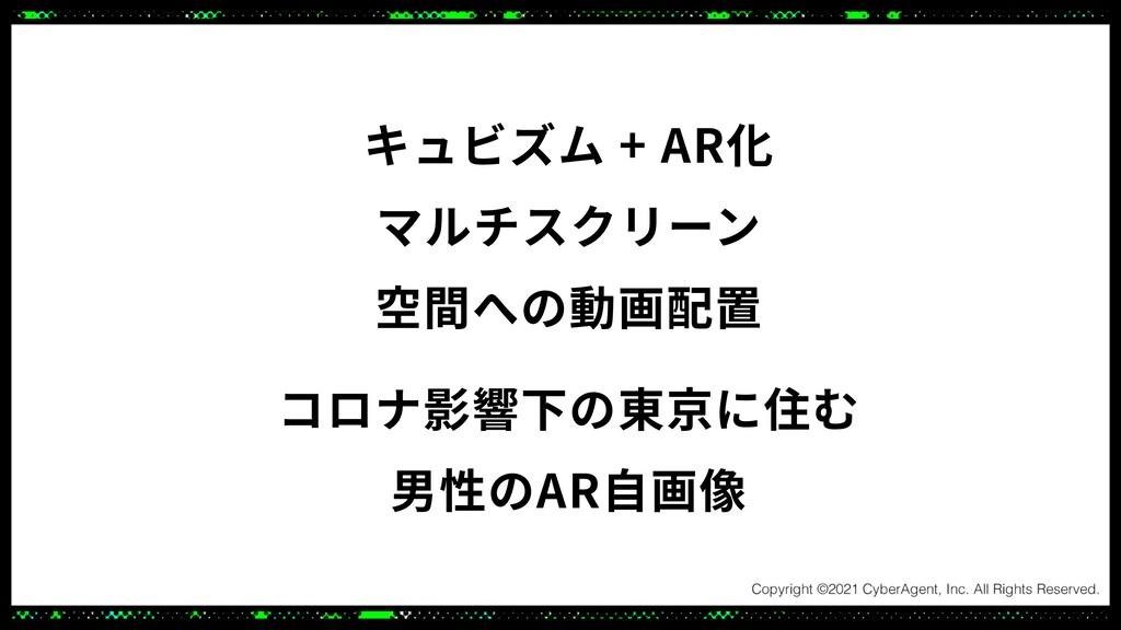 キュビズム + AR化 マルチスクリーン 空間への動画配置 コロナ影響下の東京に住む 男性のA...