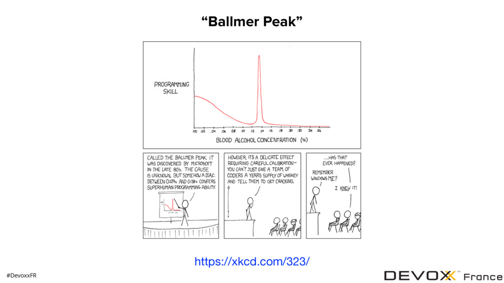 "https://xkcd.com/323/ ""Ballmer Peak"" #DevoxxFR"