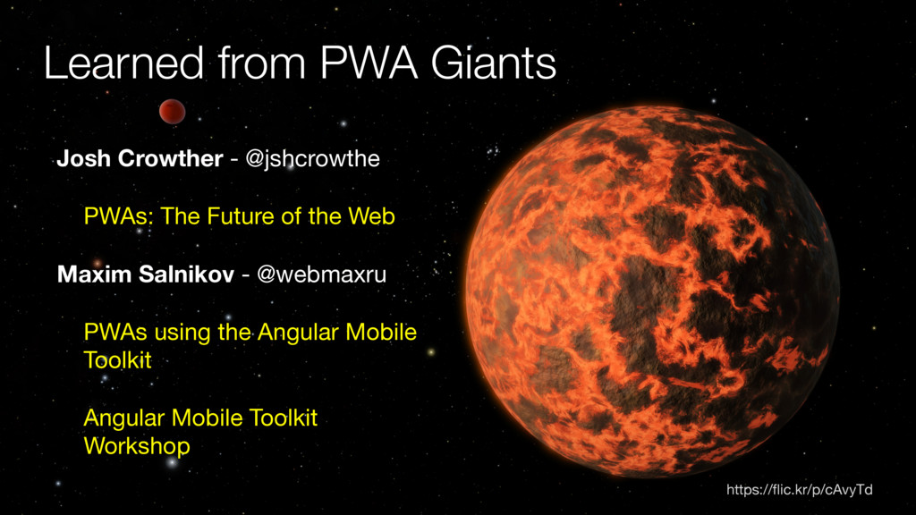 https://flic.kr/p/cAvyTd Learned from PWA Giants...