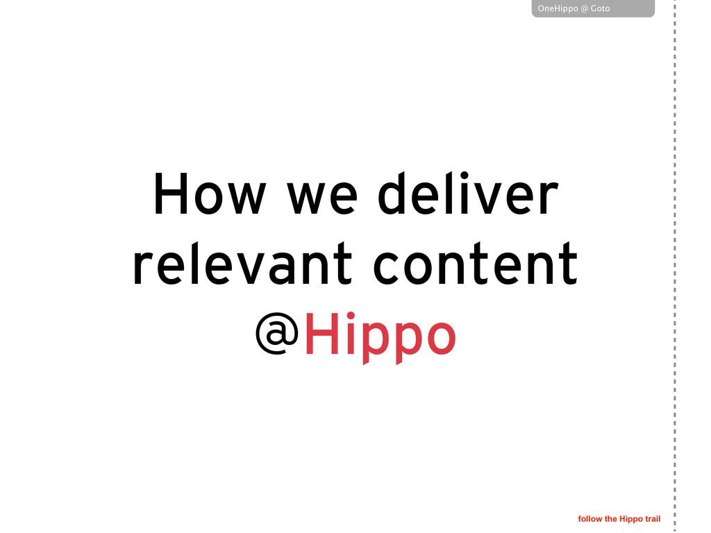 follow the Hippo trail OneHippo @ Goto OneHippo...