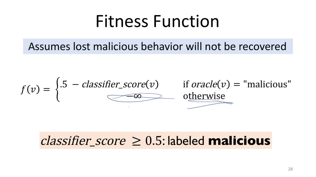 Fitness Function 28 Assumes lost malicious beha...