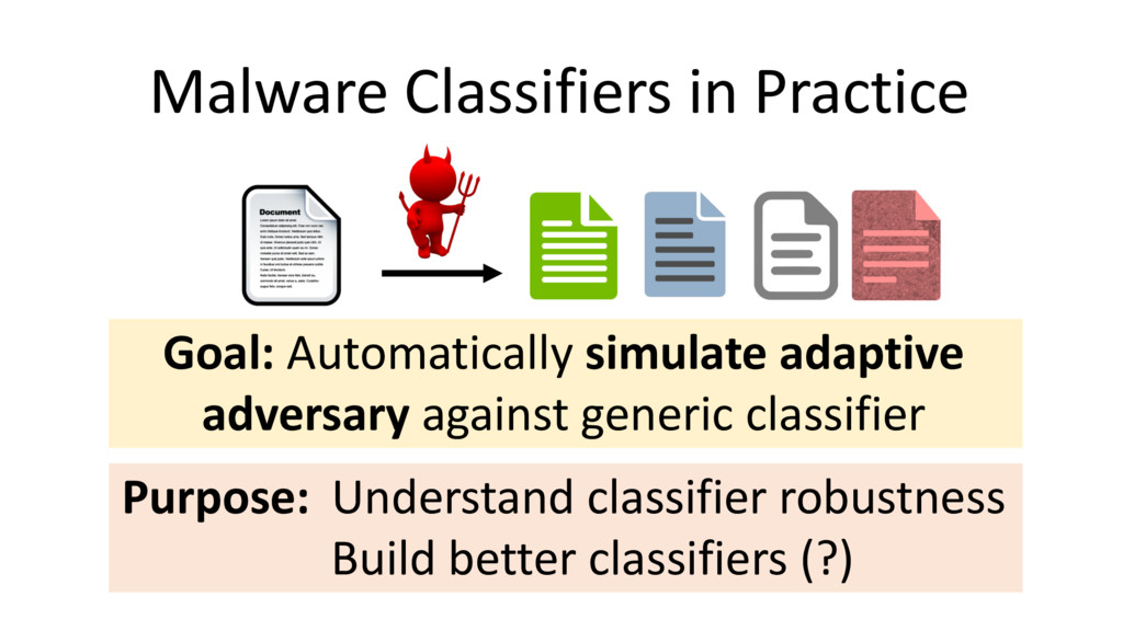 Malware Classifiers in Practice Goal: Automatic...
