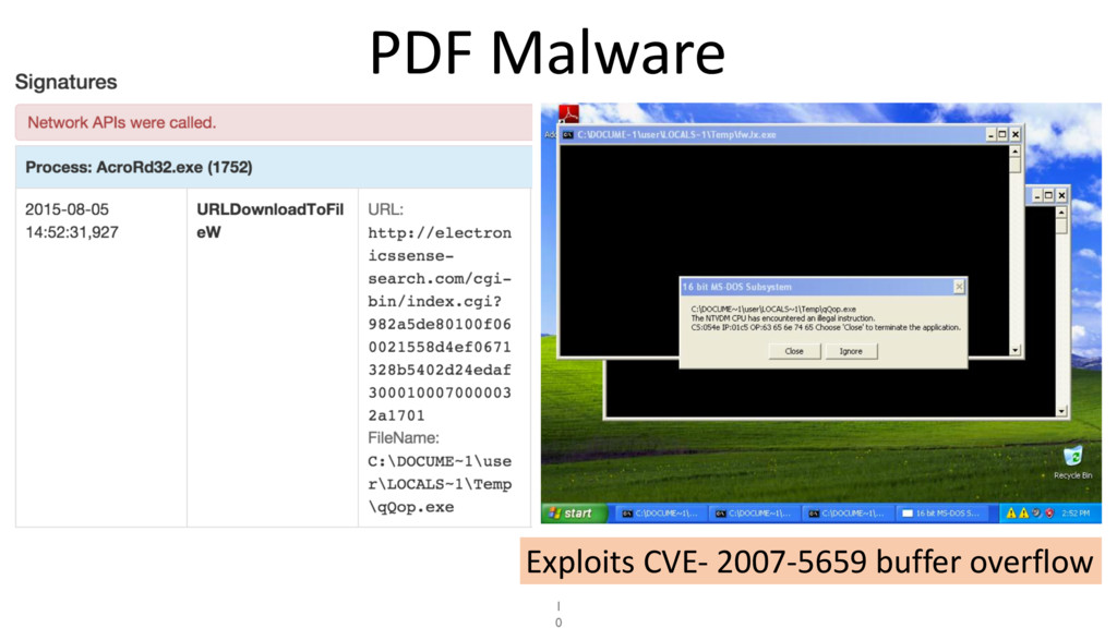 PDF Malware 1 0 Exploits CVE- 2007-5659 buffer ...