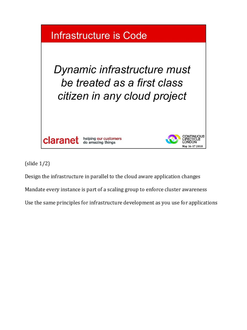 (slide 1/2) Design the infrastructure in parall...
