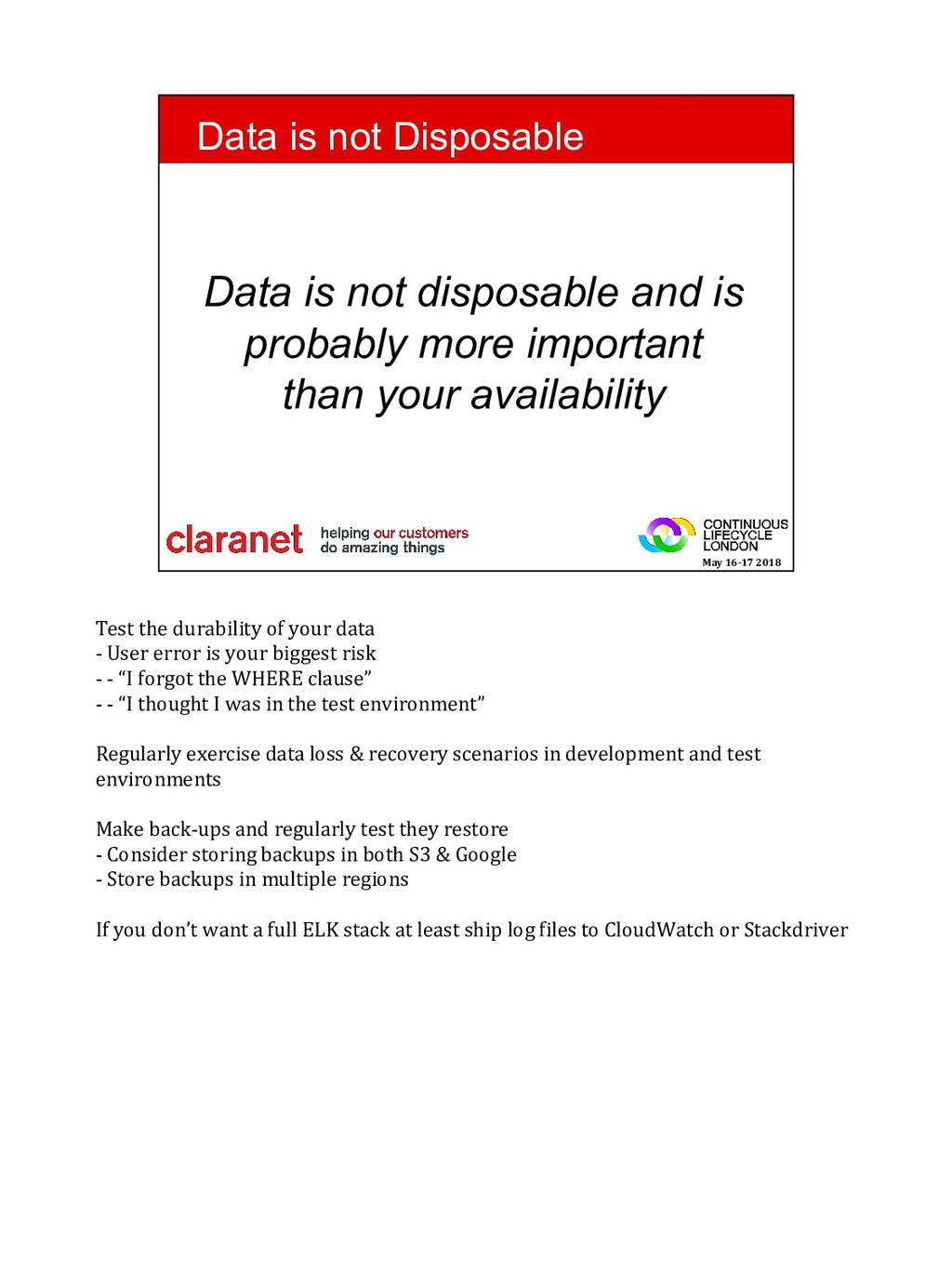 Test the durability of your data - User error i...