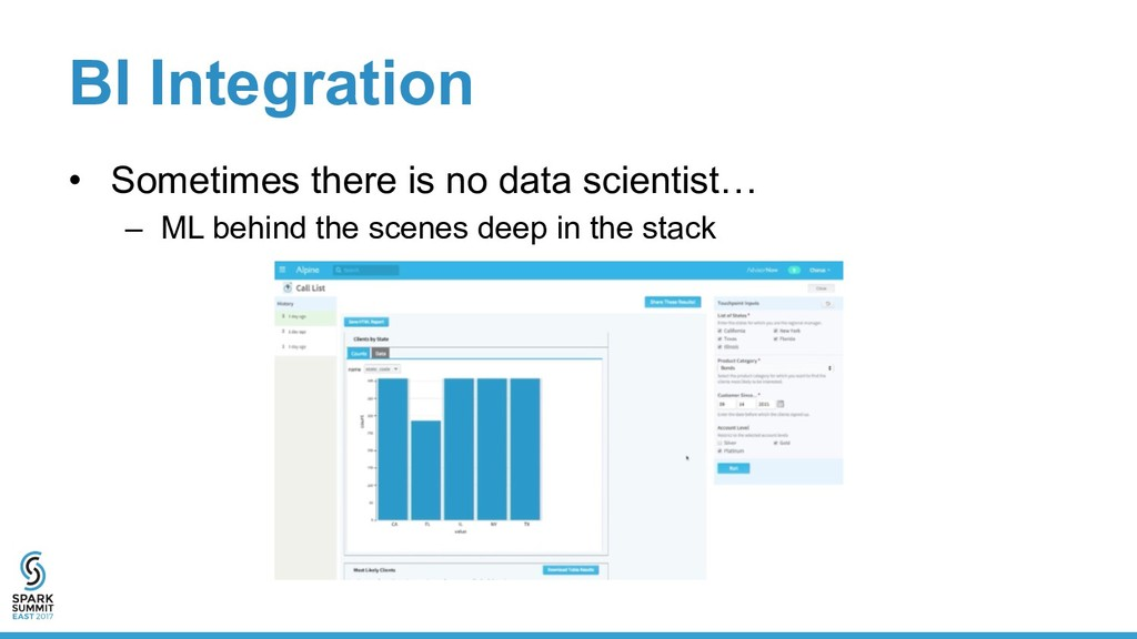 BI Integration •  Sometimes there is no data sc...