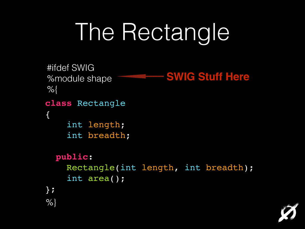 The Rectangle class Rectangle! {! int length;! ...