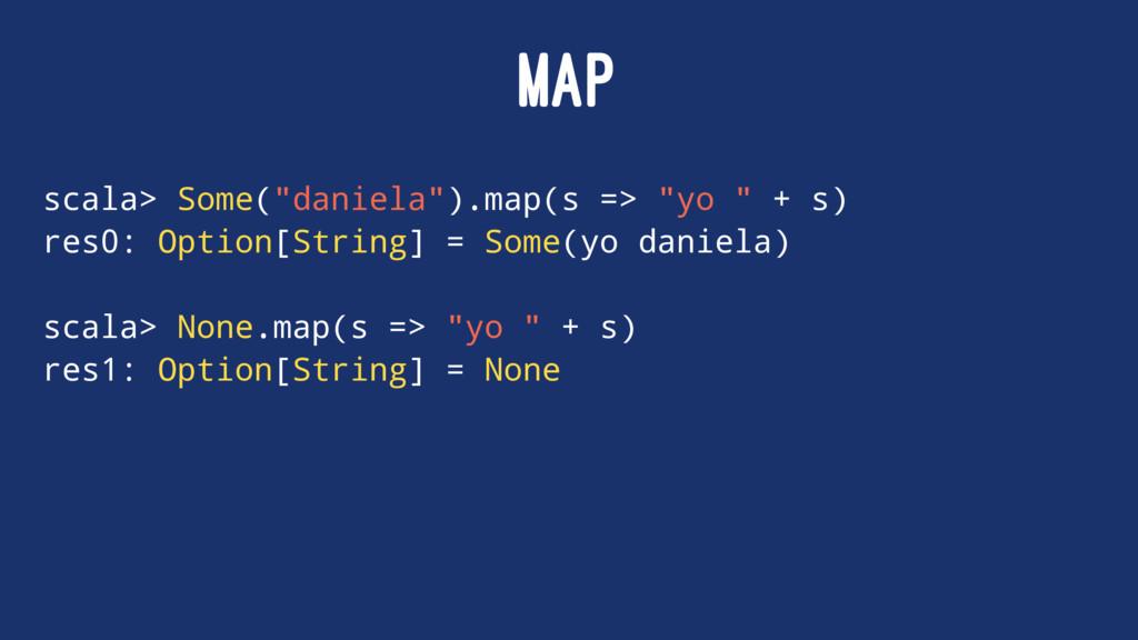 "MAP scala> Some(""daniela"").map(s => ""yo "" + s) ..."