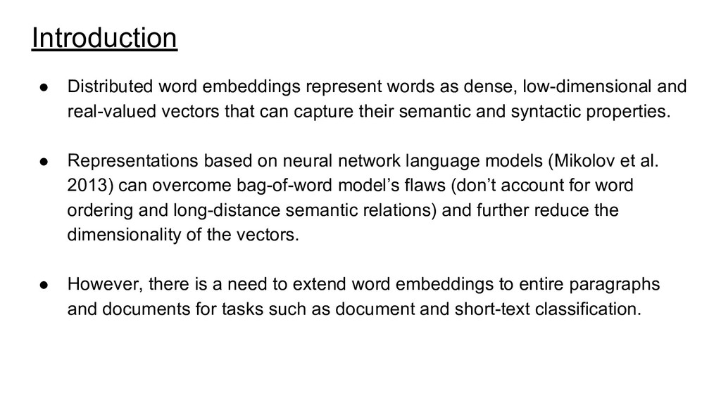 Introduction ● Distributed word embeddings repr...