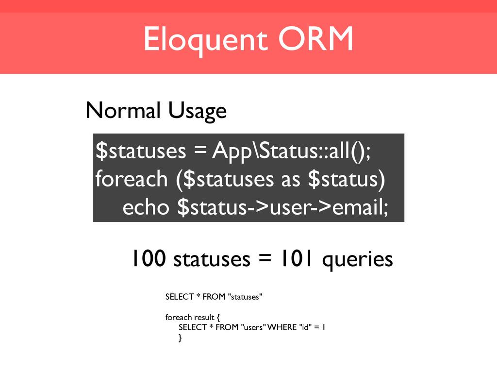 Eloquent ORM Normal Usage $statuses = App\Statu...