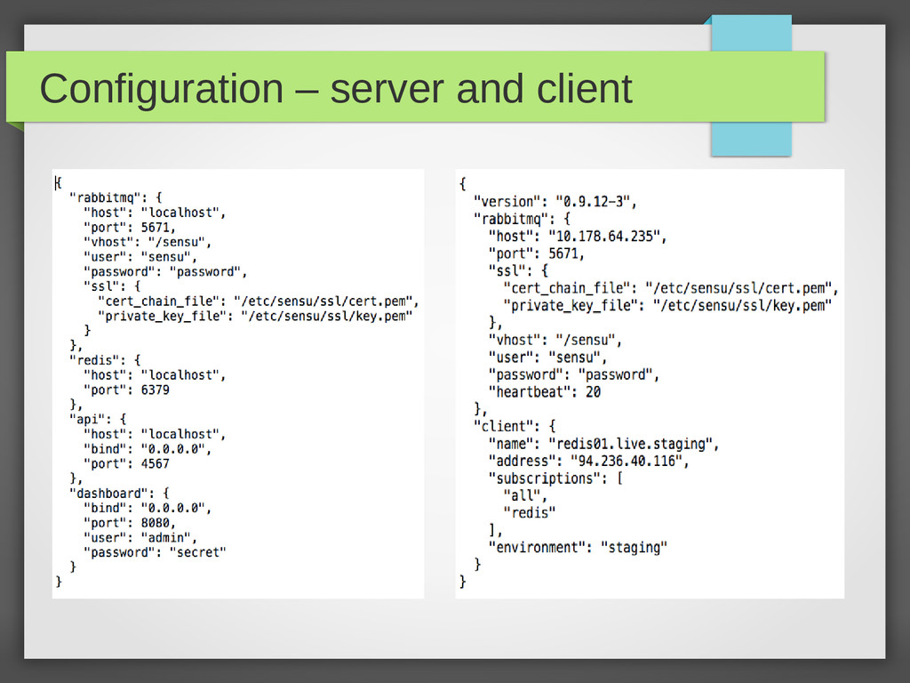 Configuration – server and client