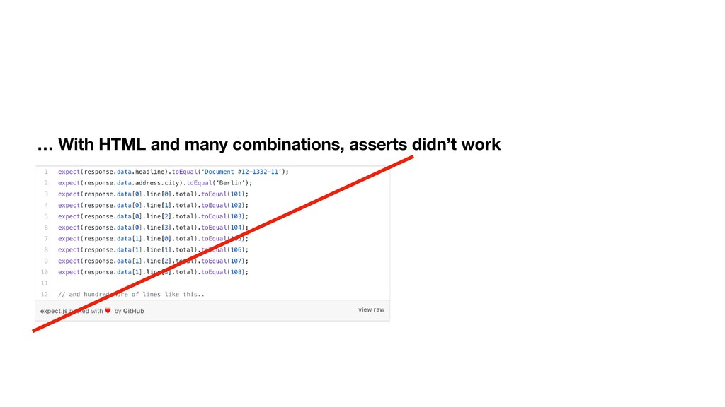 … With HTML and many combinations, asserts didn...