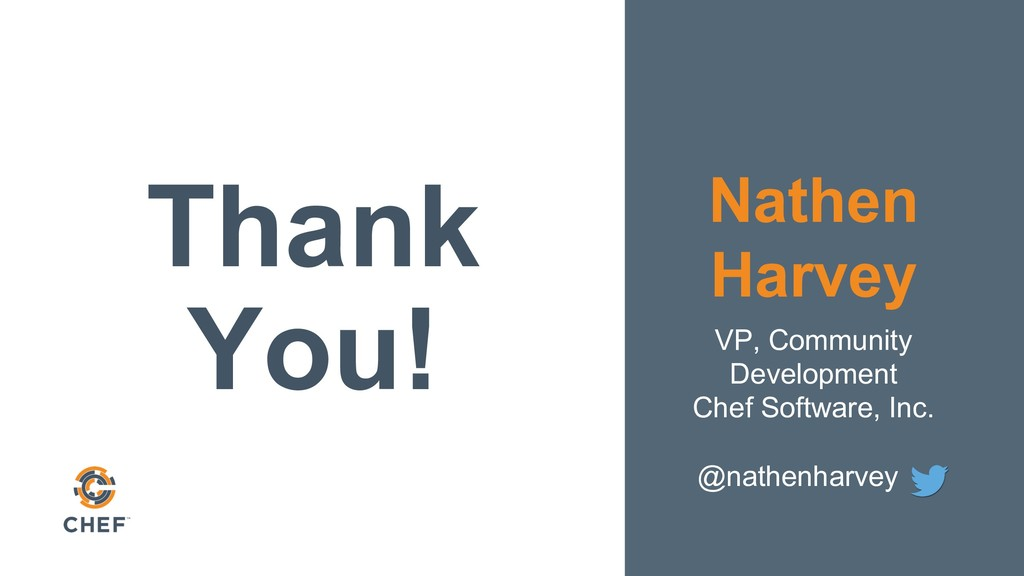 Thank You! Nathen Harvey VP, Community Developm...