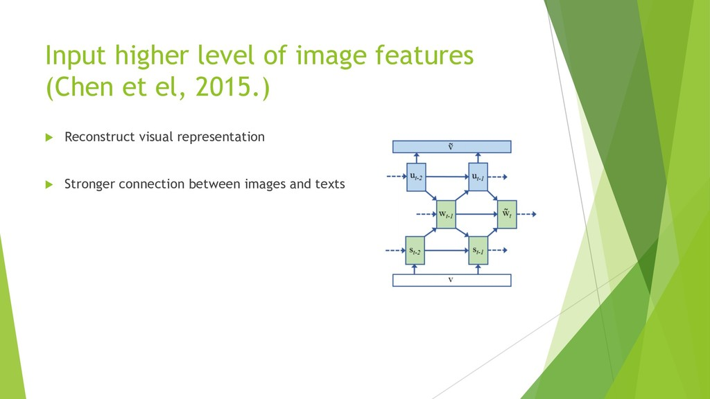 Input higher level of image features (Chen et e...