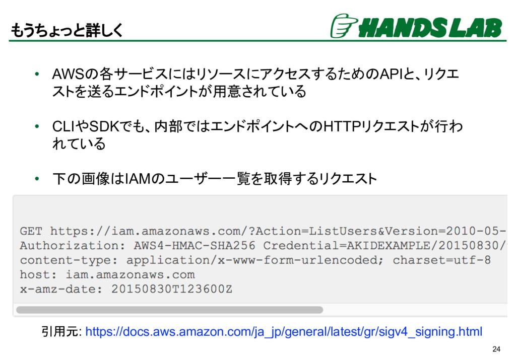 24 もうちょっと詳しく • AWSの各サービスにはリソースにアクセスするためのAPIと、リク...