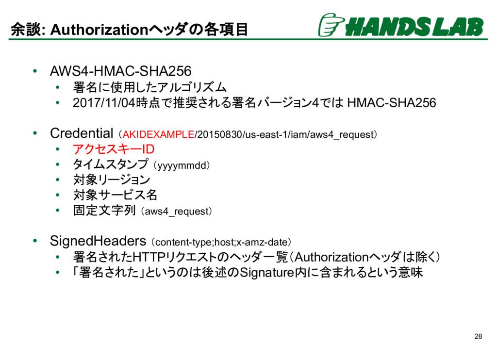 28 余談: Authorizationヘッダの各項目 • AWS4-HMAC-SHA256 ...
