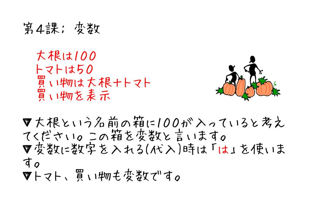 第4課: 変数 大根は100 トマトは50 買い物は大根+トマト 買い物を表示 ▼大根という名...