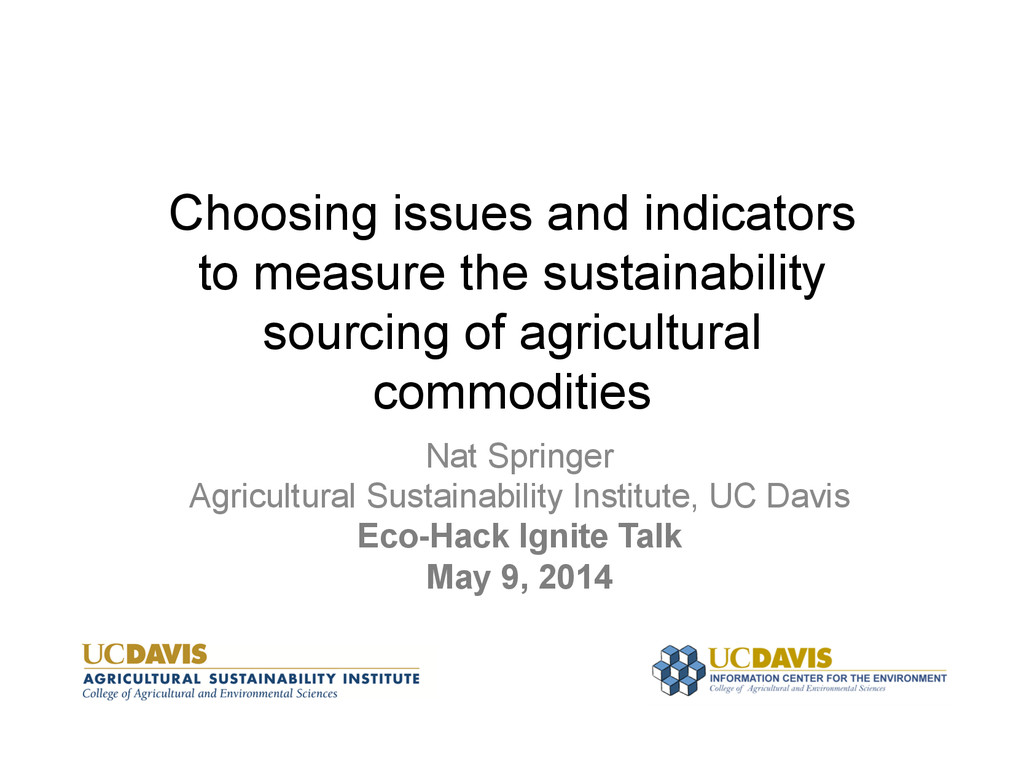 Choosing issues and indicators to measure the s...