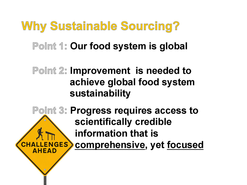Our food system is global Improvement is needed...