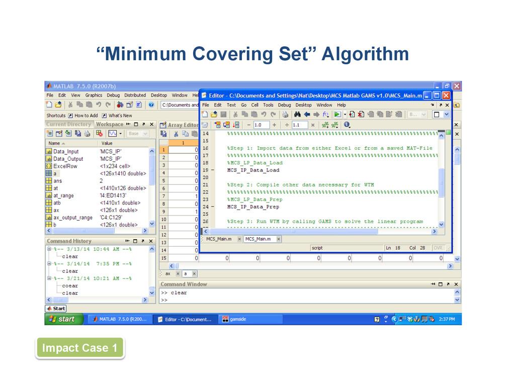 """Minimum Covering Set"" Algorithm Impact Case 1"