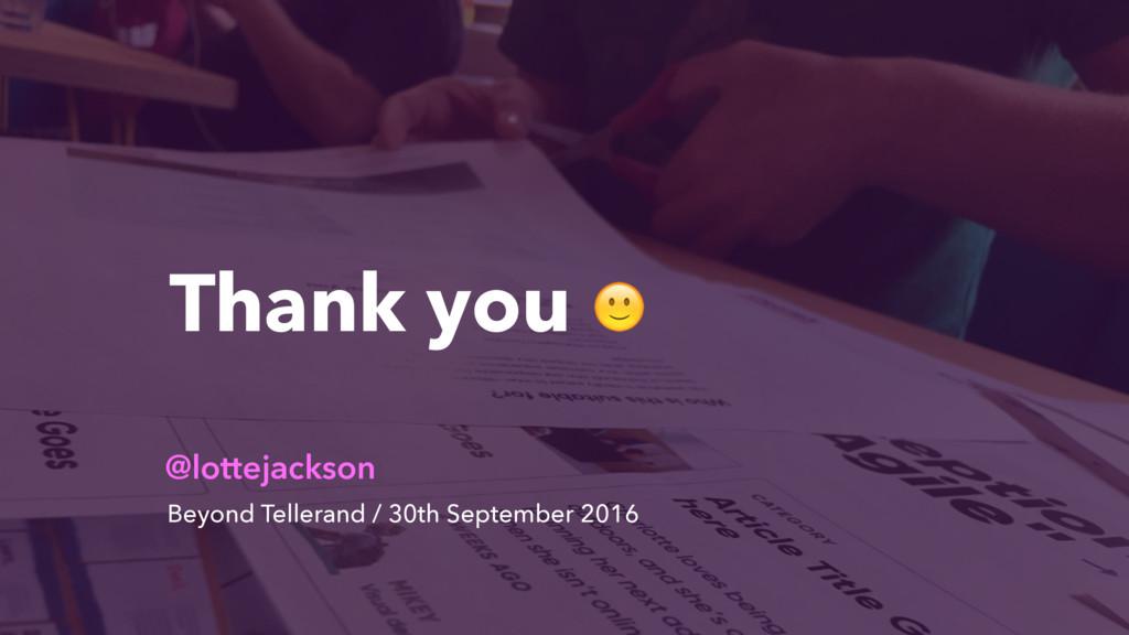 Thank you  @lottejackson Beyond Tellerand / 30t...