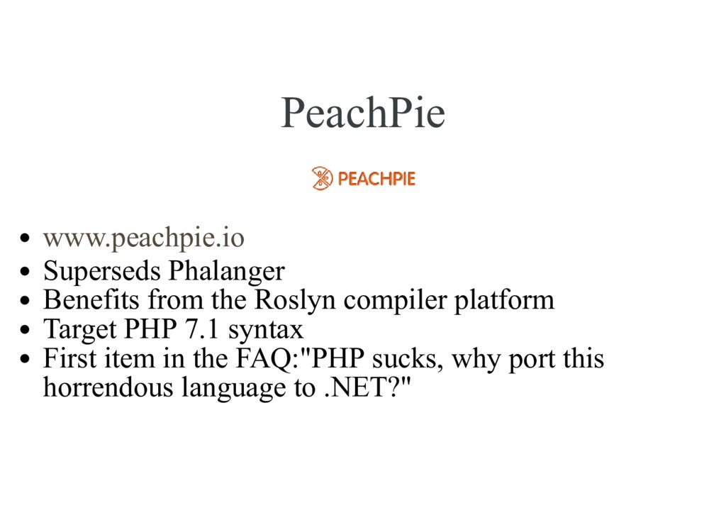 PeachPie Superseds Phalanger Benefits from the ...
