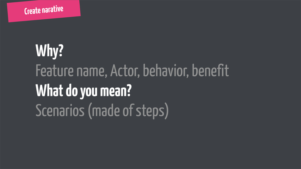 Create narative Why? Feature name, Actor, behav...
