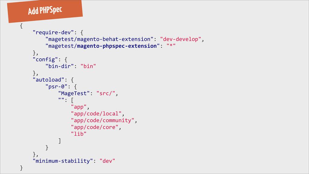 "Add PHPSpec {     ""require-‐dev"":..."
