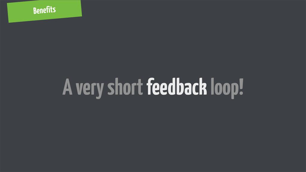 Benefits A very short feedback loop!
