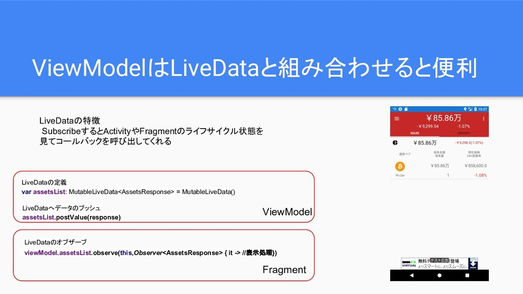 ViewModelはLiveDataと組み合わせると便利 LiveDataの特徴 Subscr...