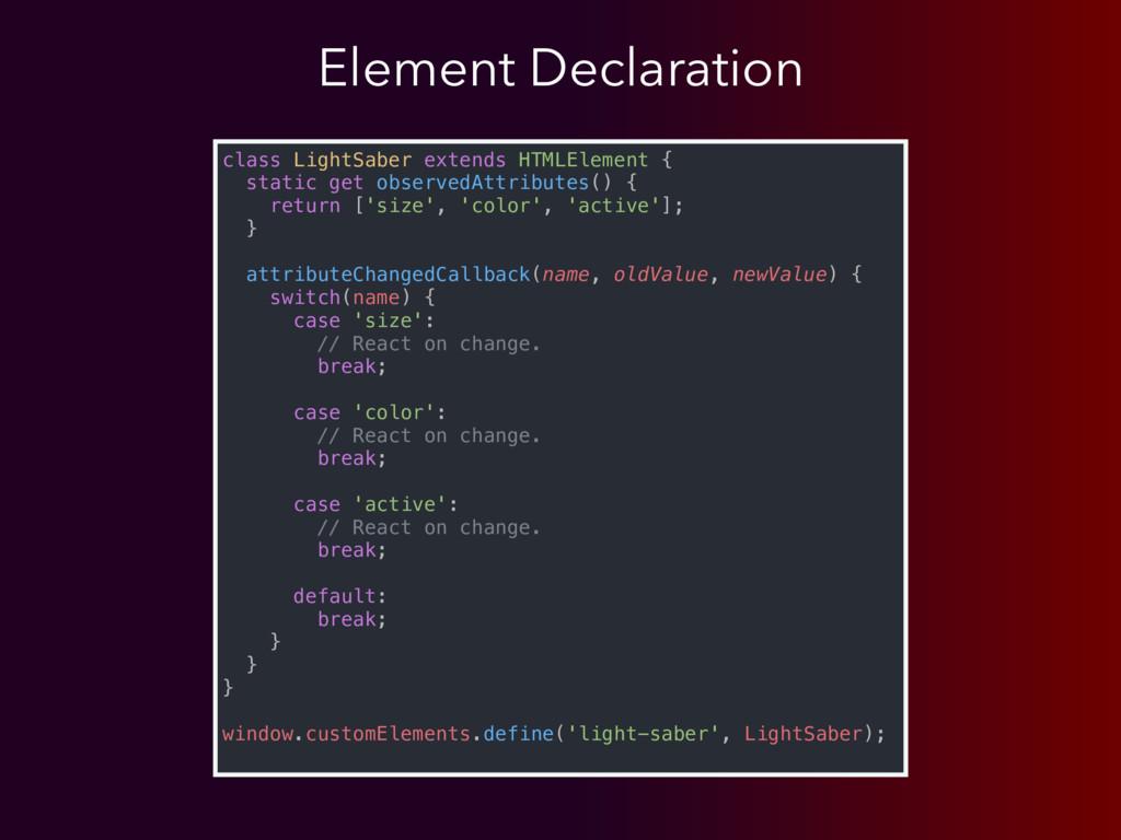 class LightSaber extends HTMLElement { static g...