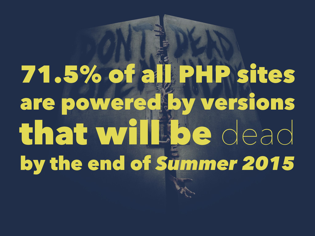 71.5% of all PHP sites are powered by versions ...