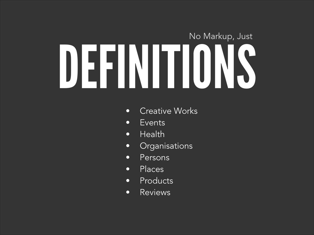 DEFINITIONS • Creative Works • Events • Health ...