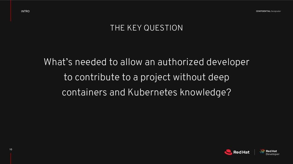 CONFIDENTIAL Designator THE KEY QUESTION What's...