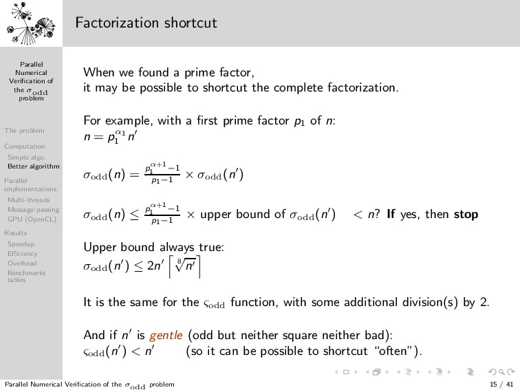 Parallel Numerical Verification of the σodd prob...