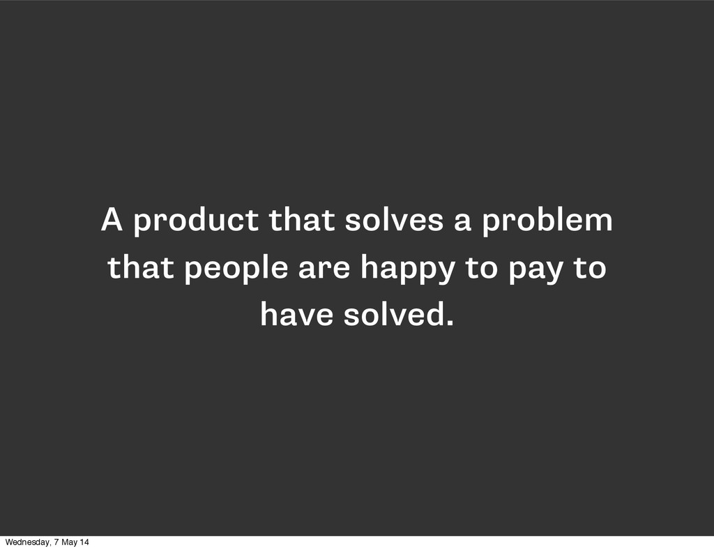 A product that solves a problem that people are...