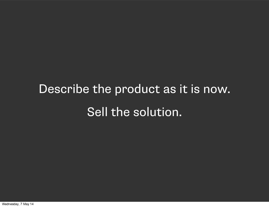 Describe the product as it is now. Sell the sol...