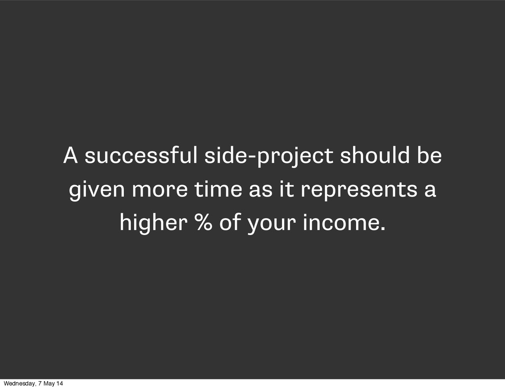A successful side-project should be given more ...