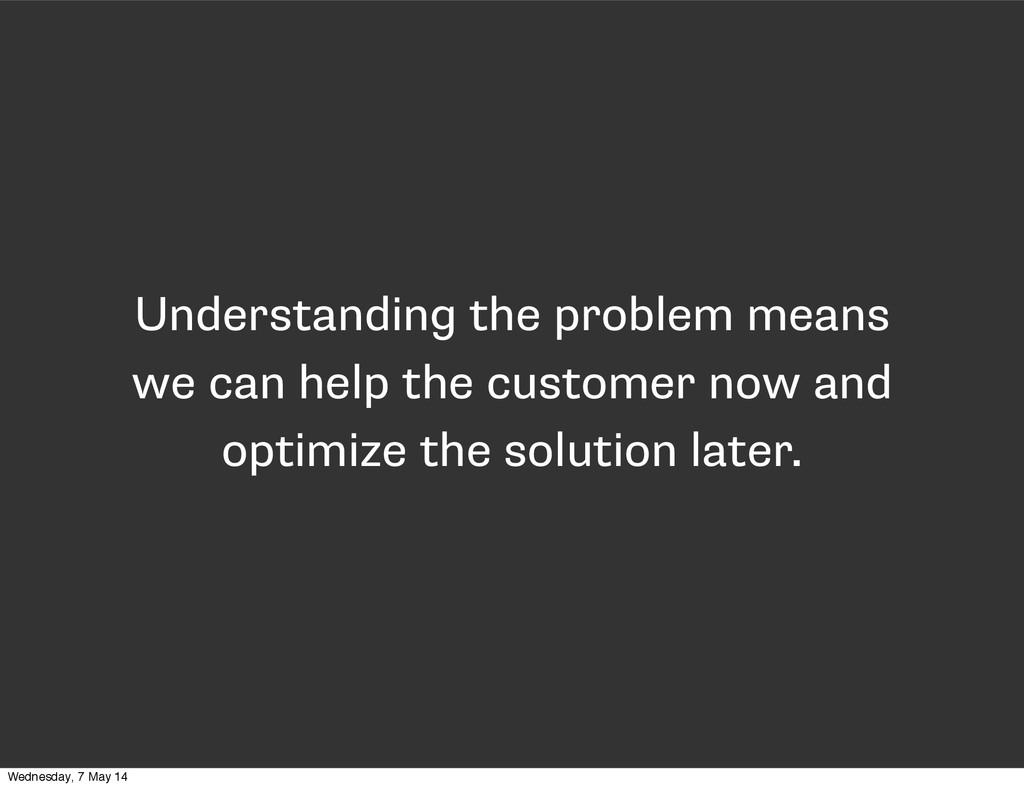 Understanding the problem means we can help the...