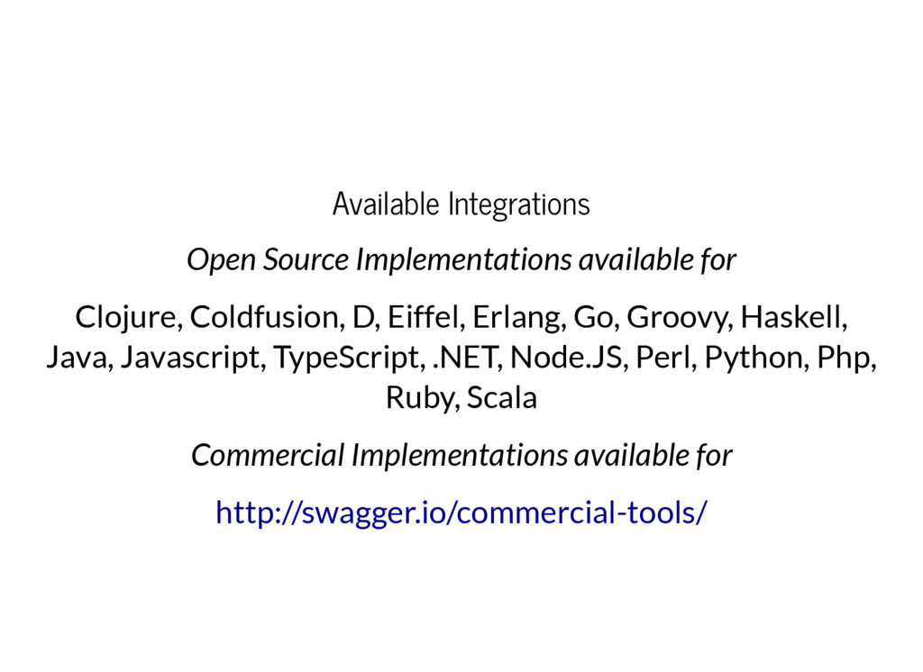 Available Integrations Open Source Implementati...
