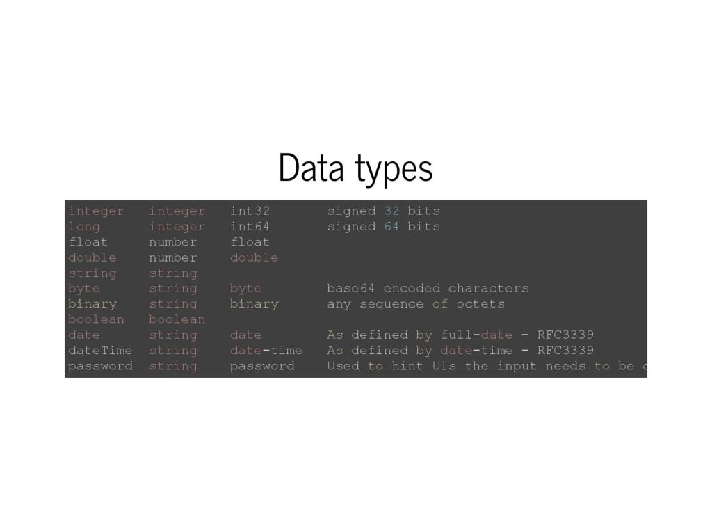 Data types i n t e g e r i n t e g e r i n t 3 ...