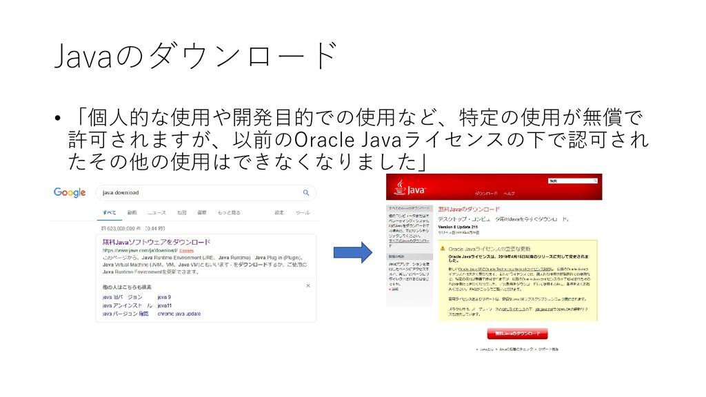 Javaのダウンロード • 「個人的な使用や開発目的での使用など、特定の使用が無償で 許可され...