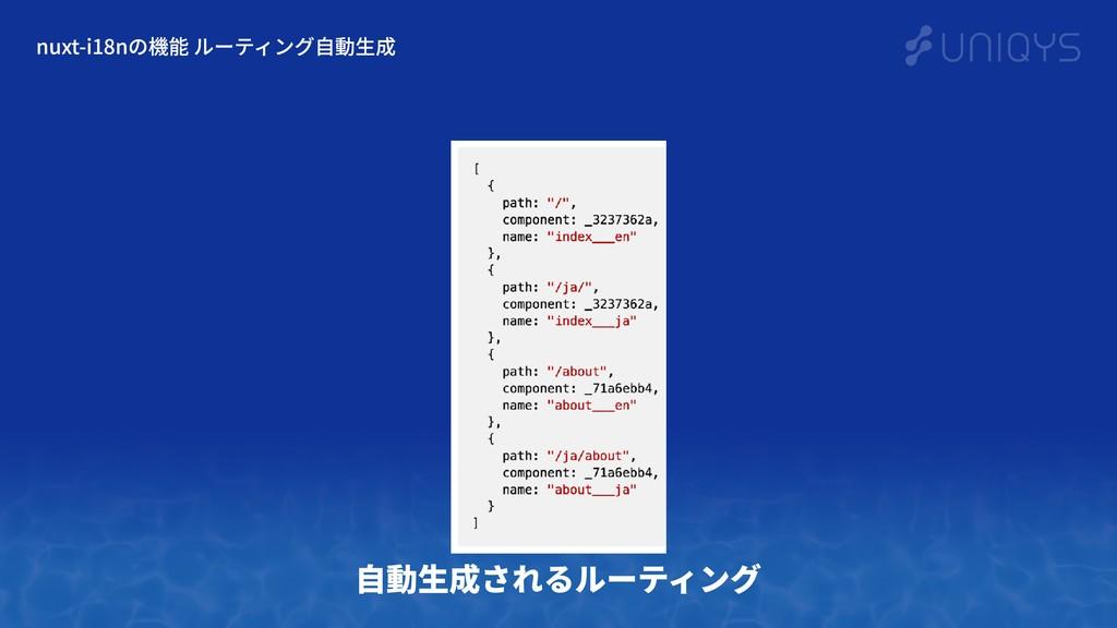 nuxt-i18nの機能 ルーティング⾃動⽣成 ⾃動⽣成されるルーティング